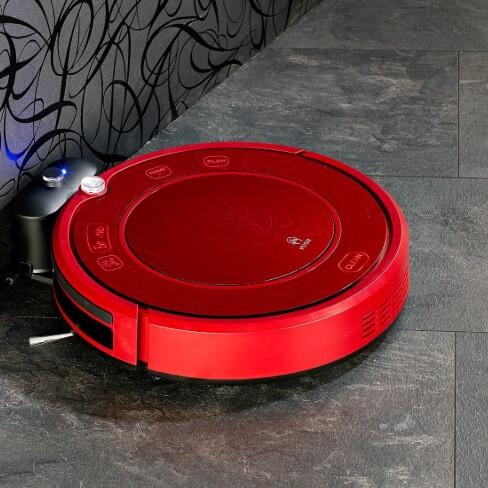 Roter Wischroboter